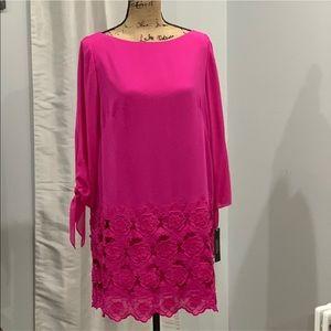 Tahari pink fushia embroidered dress size 8P